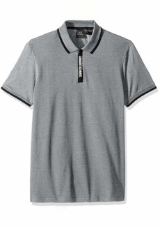 A|X Armani Exchange Men's Short-Sleeve Polo with Logo Collar Tape  L