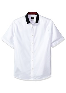 A|X Armani Exchange Men's Short Sleeve Shirt with Solid Colar  L