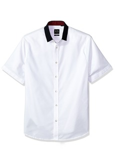 A X Armani Exchange Men's Short Sleeve Shirt with Solid Colar  S