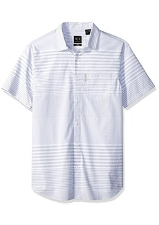 A|X Armani Exchange Men's Short Sleeve Striped Button Down Gradient SYTRIPES WH M