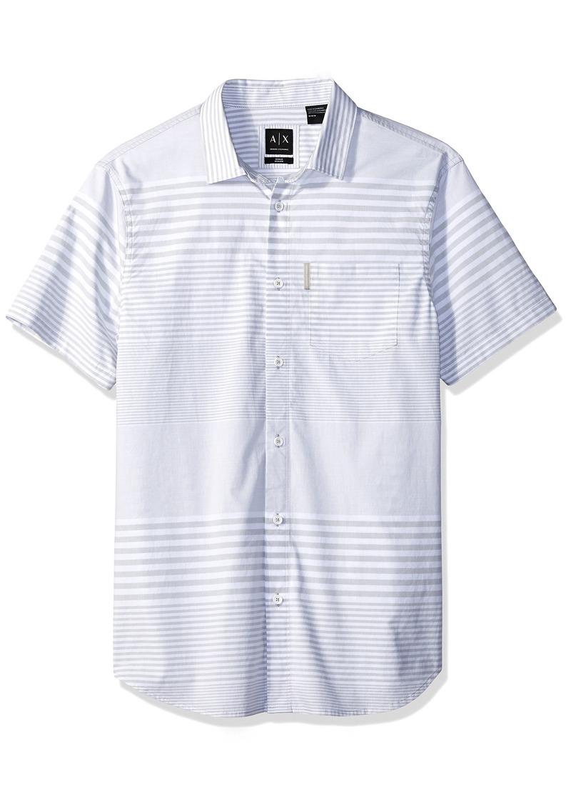A|X Armani Exchange Men's Short Sleeve Striped Button Down Gradient SYTRIPES WH M