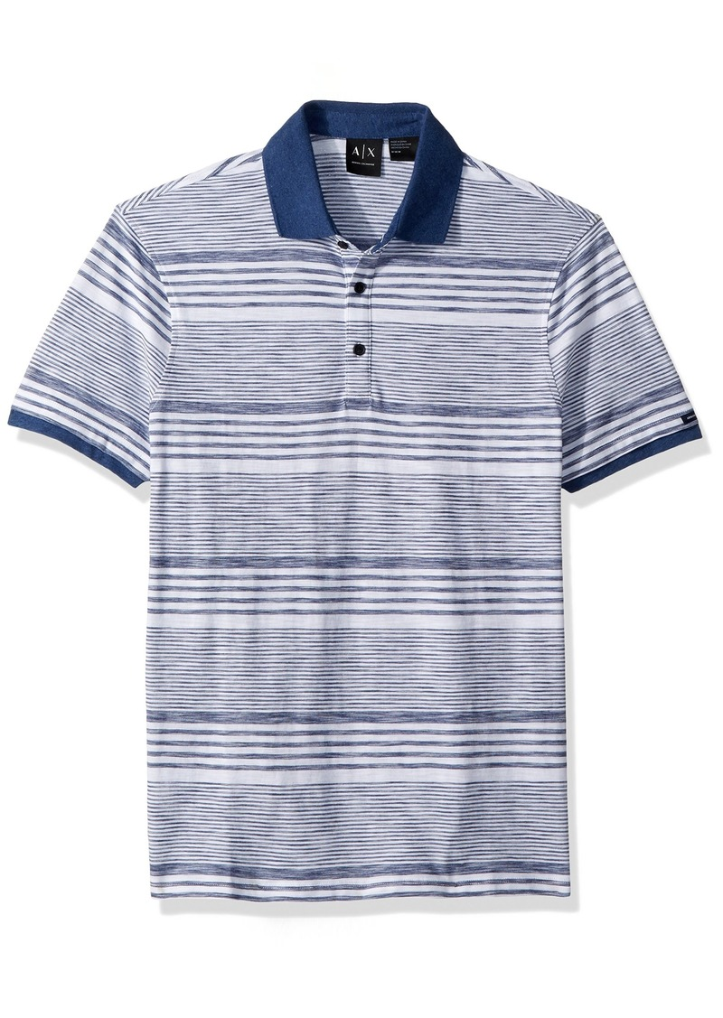 A|X Armani Exchange Men's Short Sleeve Striped Cotton Polo Shirt with Solid Collar White Navy M