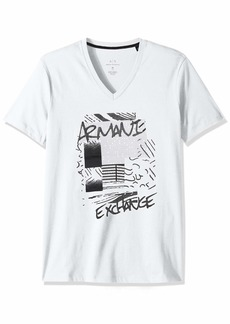 A|X Armani Exchange Men's Short Sleeve V-Neck Abstract Print T-Shirt  S