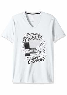 A|X Armani Exchange Men's Short Sleeve V-Neck Abstract Print T-Shirt  S
