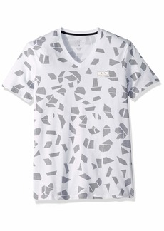 A|X Armani Exchange Men's Short Sleeve V-Neck All Over Geometric Print T-Shirt Polygonal CAMO BS WH M
