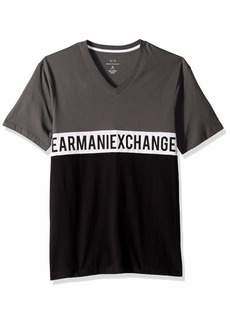 A|X Armani Exchange Men's Short-Sleeve V-Neck AX Wrap Around T-Shirt  L