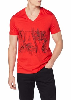 A|X Armani Exchange Men's Short Sleeve V-Neck  Graphic Logo T-Shirt HIGH Risk RED L