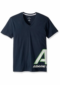 A|X Armani Exchange Men's Short Sleeve V-Neck Large Graphic Logo T-Shirt  S