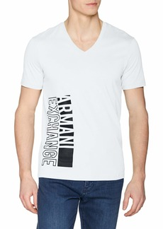 A|X Armani Exchange Men's Short Sleeve V-Neck Large Logo T-Shirt  S