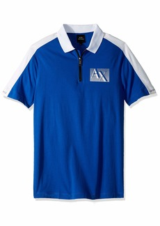 A|X Armani Exchange Men's Short-Sleeve Zipper Polo Shirt  XL