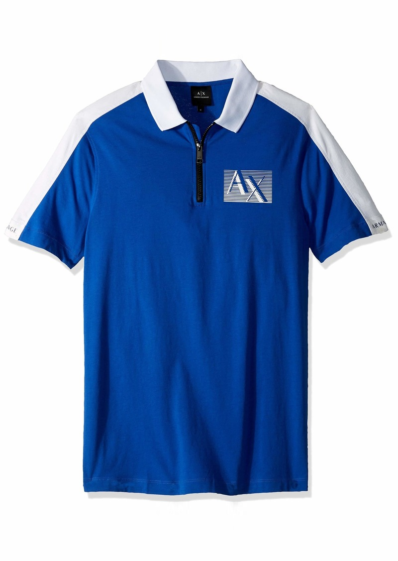 A|X Armani Exchange Men's Short-Sleeve Zipper Polo Shirt  XL