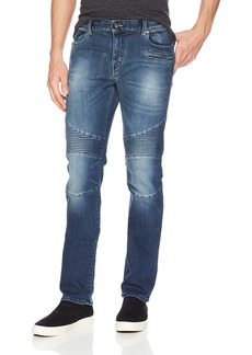 A|X Armani Exchange Men's Slim fit Motorcycle Inspired Blue Jeans