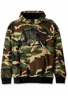 A|X Armani Exchange Men's Snake Camo Hooded Sweatshirt Green XXL