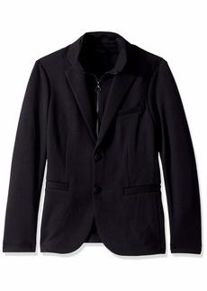 A|X Armani Exchange Men's Solid Double Knit Blazer with Zip Up Scuba Vest  M