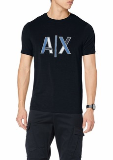 A|X Armani Exchange Men's Solid T-Shirt with Colorblock AX Logo  M
