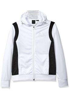 A X Armani Exchange Men's Sporty Full Zip Hoodie with Reflective Logo White/HTR DK Grey