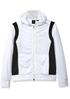 A|X Armani Exchange Men's Sporty Full Zip Hoodie with Reflective Logo White/HTR DK Grey
