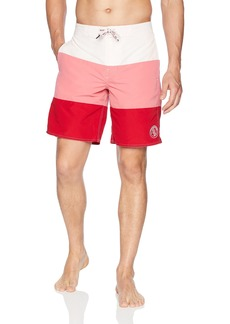A|X Armani Exchange Men's Stripe Bermuda Trunks WHT TOP/DES ROS MIDD L