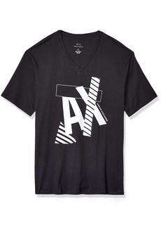 A|X Armani Exchange Men's Striped AX Logo V Neck T-Shirt  S