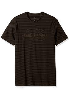 A|X Armani Exchange Men's Striped Crew Neck Tee with Sewn Logo