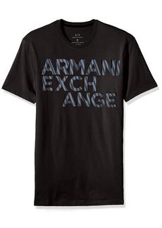 A|X Armani Exchange Men's Striped Logo Crew Neck Tee