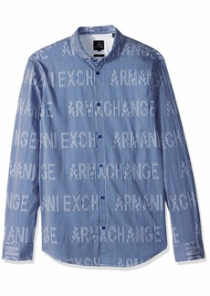 A|X Armani Exchange Men's Striped Long-Sleeve Cotton Button Down Marine/White ILLUSIO M