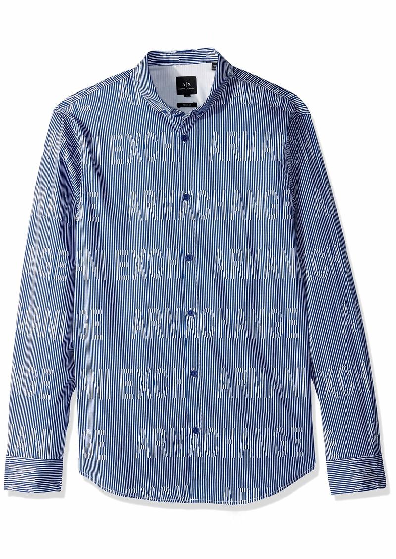 A|X Armani Exchange Men's Striped Long-Sleeve Cotton Button Down Marine/White ILLUSIO M