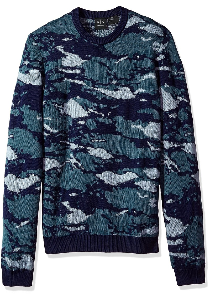 A|X Armani Exchange Men's Sweater CAMO Jacq. Blue