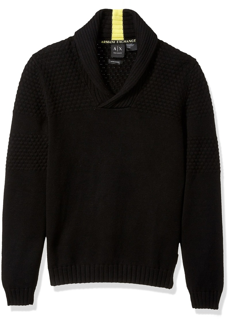 A|X Armani Exchange Men's Textured Knit Shawl Collar Sweater