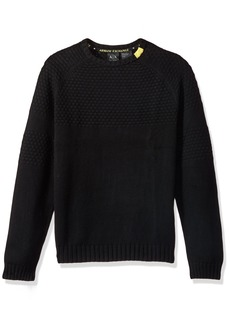 A|X Armani Exchange Men's Textured Knit Sweater with Colored Collar Detail