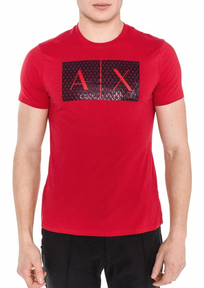 A|X Armani Exchange Men's Triangulation Crew Neck Tshirt HIGH Risk RED M