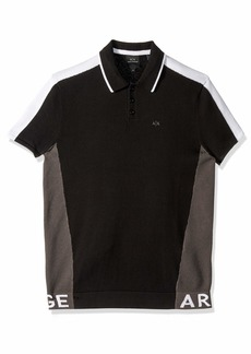 A|X Armani Exchange Men's Two Toned Polo Shirt Black+Magnet+White L