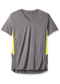 A|X Armani Exchange Men's V Neck Short Sleeve Color Block Side Detail