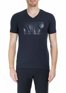 A|X Armani Exchange Men's V-Neck Short Sleeve T-Shirt with Logo in Box  M