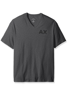 A|X Armani Exchange Men's V Neck Tee with Back Bottom Logo  Grey HTR B50
