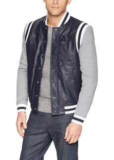 A|X Armani Exchange Men's Varsity Style Jacket with Stripes  L