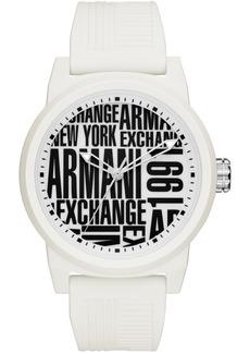 AX Armani Exchange Men's White Silicone Strap Watch 46mm