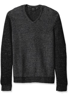 A X Armani Exchange Men's Wool Blend Double Yard Dyed V Neck Sweater