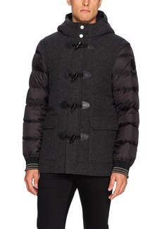 A|X Armani Exchange Men's Wool Front Coat with Quilted Sleeves and Toggle Closure