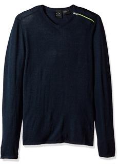 A|X Armani Exchange Men's Zipper V Neck Sweater