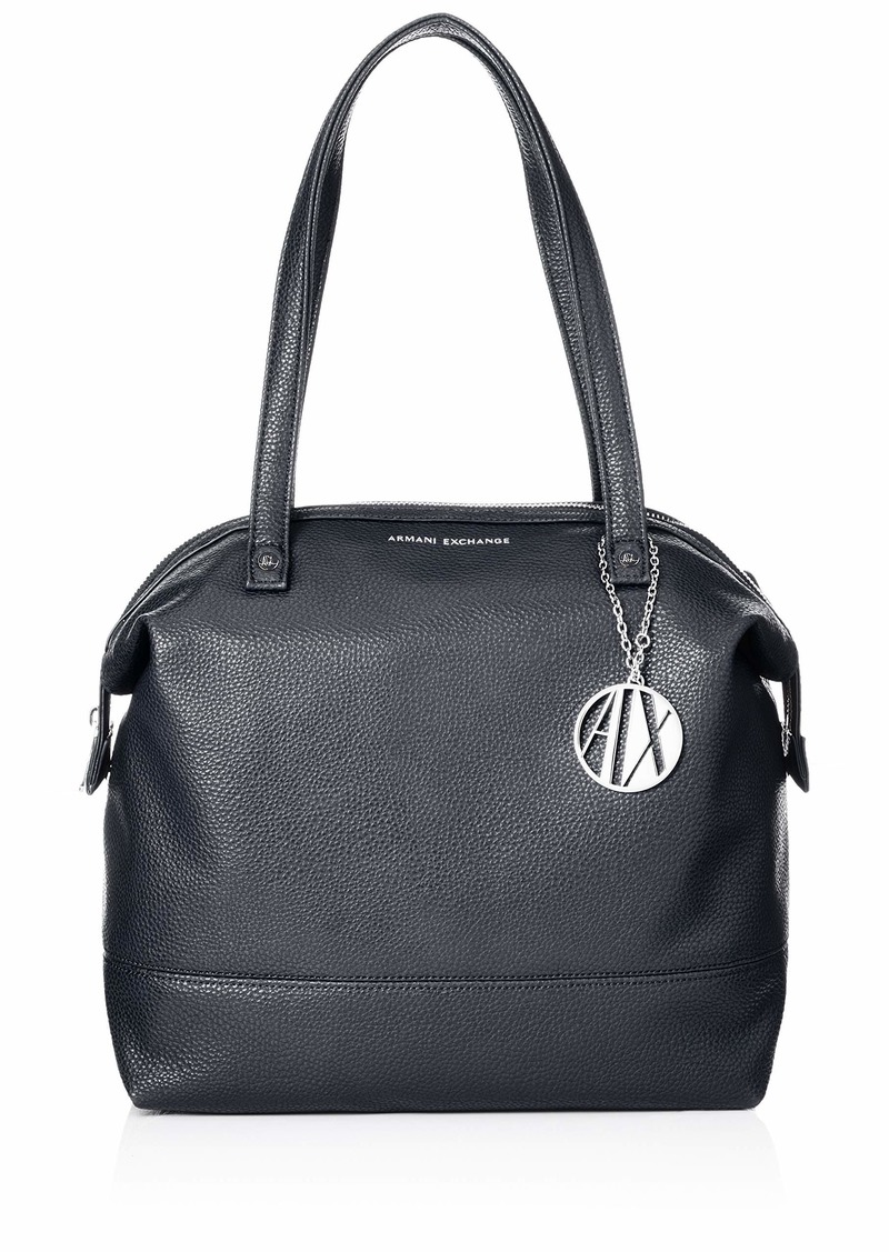 A|X Armani Exchange Pebble PU Top Zip Shoulder Bag navy