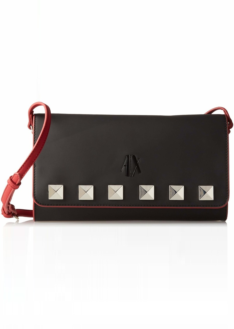 A|X Armani Exchange Studded Flap Over Clutch