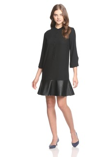 A|X Armani Exchange Women's 3/ Sleeve Dress with Eco Leather