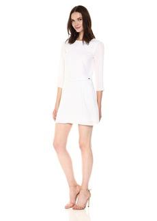 A|X Armani Exchange Women's 3/ Sleeve Tie Detailed Twill Shift Dress