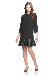 A|X Armani Exchange Women's 3/4 Sleeve Dress with Eco Leather