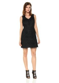 A|X Armani Exchange Women's All-Over Fringe V-Neck Sleeveless Dress