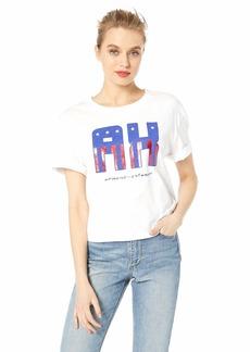 A|X Armani Exchange Women's American Flag Logo Graphic Crop Tee  S