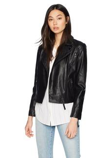 A X Armani Exchange Women's Asymmetrical Moto Jacket  L