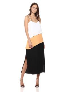 A|X Armani Exchange Women's Asymmetrical Stripe Dress Papaya/W./b