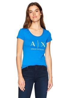 A X Armani Exchange Women's AX Scoop Logo Tee  S
